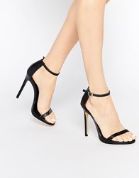 New Look Barely There Leather Heeled Sandals Black