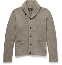 Rrl Hawl Collar Melange Cotton Cardigan Gray