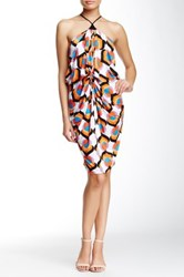 Tbags Halter Neck Draped And Knotted Dress Multi