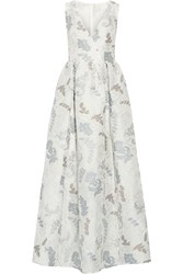Tory Burch Patterned Jacquard Gown White