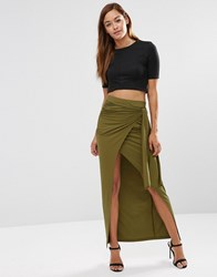 Asos Maxi Skirt With Twist Knot Khaki