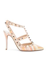 Valentino Leather Rockstud Navajo 1975 Heels In Orange Geometric Print