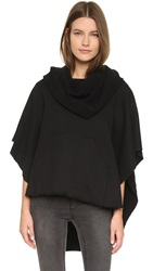 Oak Funnel Neck Poncho Black
