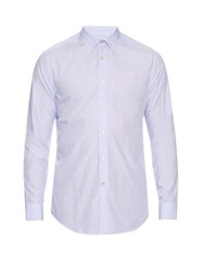 Paul Smith Button Cuff Micro Geometric Print Cotton Shirt Light Blue