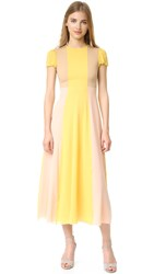 Red Valentino Pleated Skirt Maxi Dress Mimosa