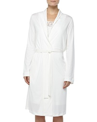 Hanro Queens Lace Detailed Robe Off White
