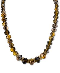 2028 Gold Tone Brown Bead Collar Necklace