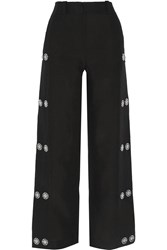 Loewe Embellished Linen Wide Leg Pants Black