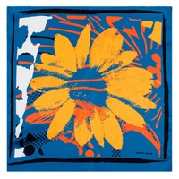 Bianca Elgar Orange Flowers Small Summer Square Scarf White Blue Yellow