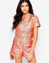 Lashes Of London Glitz Metallic Jacquard Tee Peach Pink