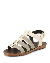 Brunello Cucinelli Monili Strappy Flat Sandal Oat Brown