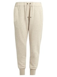Brunello Cucinelli Monili Embellished Cashmere Blend Trousers Beige