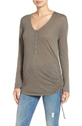 Splendid Women's Ruched Side Slub Henley Tee Military Olive