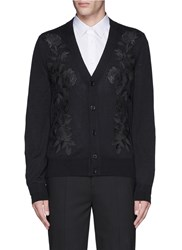 Alexander Mcqueen Waxed Floral Embroidery Wool Silk Cardigan Black
