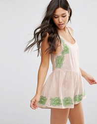 Asos Pretty Embroidered Loose Beach Playsuit Nude Green Pink