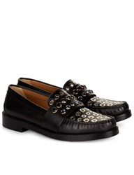 Sonia Rykiel Black Embellished Penny Loafers