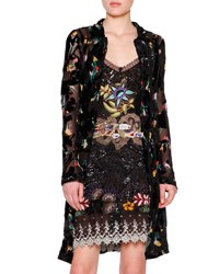 Etro Floral Print Button Front Long Cardigan Black Multi