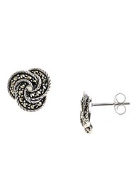 Lord And Taylor Sterling Silver Marcasite Knot Stud Earrings