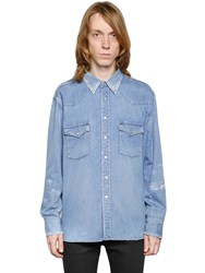 Saint Laurent Oversized Repaired Denim Western Shirt