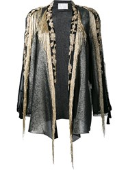 Alberta Ferretti Bead Embellished Open Jacket Black
