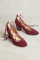 Anthropologie Farylrobin Myron Lace Up Pumps Wine