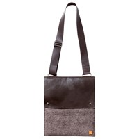 Mulxiply Felt And Leather Crossbody Bag Heather Brown