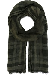 Diesel Checked Scarf Green