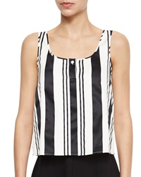 Theory Zelia Striped Sleeveless Top Black White
