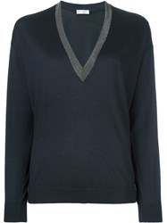 Brunello Cucinelli Boat Neck Longsleeved Blouse Blue