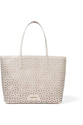 Elizabeth And James Daily Laser Cut Leather Tote White