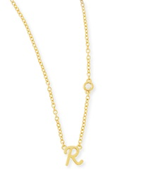 Shy By Sydney Evan R Initial Pendant Necklace With Diamond