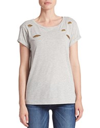 Guess Embellished Peek Through Tee Charcoal