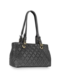 Fontanelli Quilted Leather Satchel Bag Black