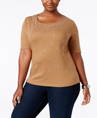 Karen Scott Plus Size Studded Top Only At Macy's Suede