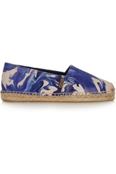 Penelope Chilvers Printed Textured Leather Espadrilles Blue