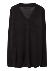 Mango V Neck Jumper Black