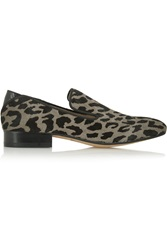 Sam Edelman Kalinda Leopard Print Calf Hair Loafers Gray