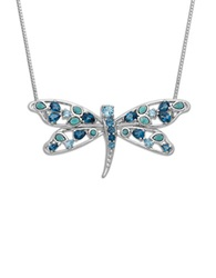 Lord And Taylor Sterling Silver Multi Color Blue Topaz Dragonfly Pendant Necklace