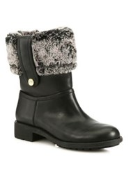Cole Haan Breene Waterproof Leather And Faux Shearling Boots Black