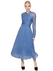 Nina Ricci Pleated Silk Chiffon And Crepon Dress