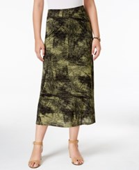 G.H. Bass And Co. Printed Midi Skirt Dusty Olive Combo