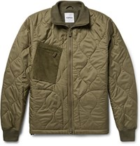 Aspesi Corduroy Panelled Quilted Shell Jacket Army Green
