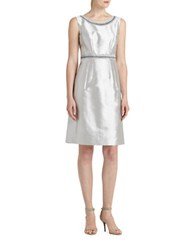 Lafayette 148 New York Nouveau Cotton Silk Shantung Sheath Dress Grey