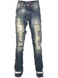 Off White Ripped Slim Jeans Blue
