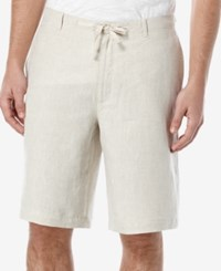 Perry Ellis Men's Linen Drawstring Shorts Natural Linen