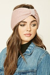 Forever 21 Glitter Knit Bow Front Headwrap Pink