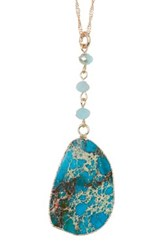 Spring Street Blue Marble Slab Pendant Necklace