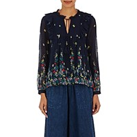 Sea Women's Ruffled Cotton Silk Chiffon Blouse Navy