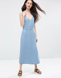 Asos Denim Waisted Midi Dress With Frill Straps In Light Wash Blue Lightwash Blue