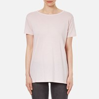 Helmut Lang Women's Feather Jersey Open Back T Shirt Mauve